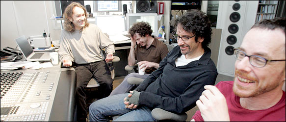 From left, Carter Burwell, composer; Charlie Kaufman, screenwriter-turned-playwright; and Joel and Ethan Coen, filmmakers who have also written a play.